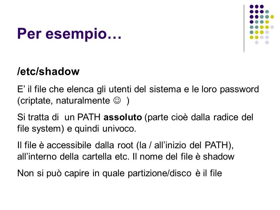 Per esempio… /etc/shadow E il file che elenca gli utenti del sistema e le loro password (criptate, naturalmente ) Si tratta di un PATH assoluto (parte