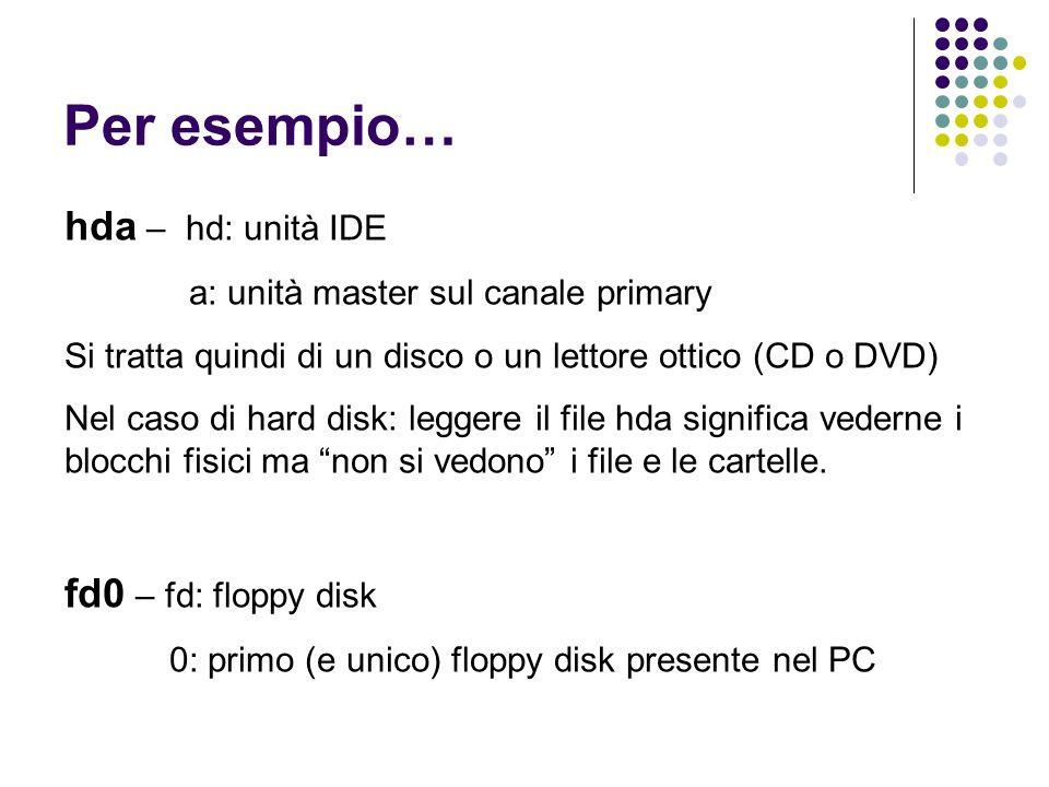 Per esempio… hda – hd: unità IDE a: unità master sul canale primary Si tratta quindi di un disco o un lettore ottico (CD o DVD) Nel caso di hard disk: