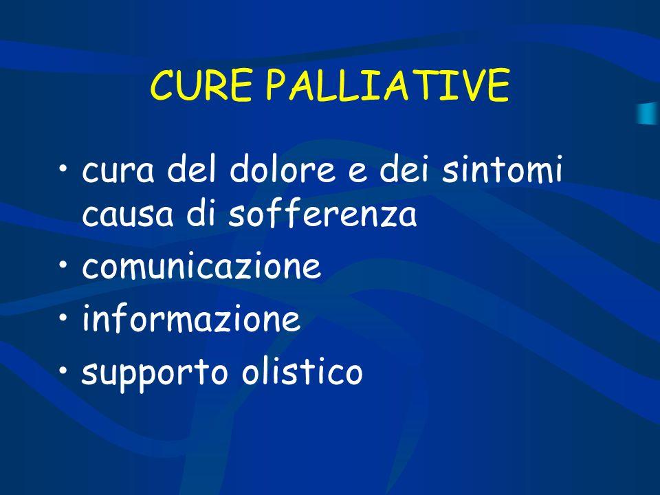 CURE PALLIATIVE cura del dolore e dei sintomi causa di sofferenza comunicazione informazione supporto olistico