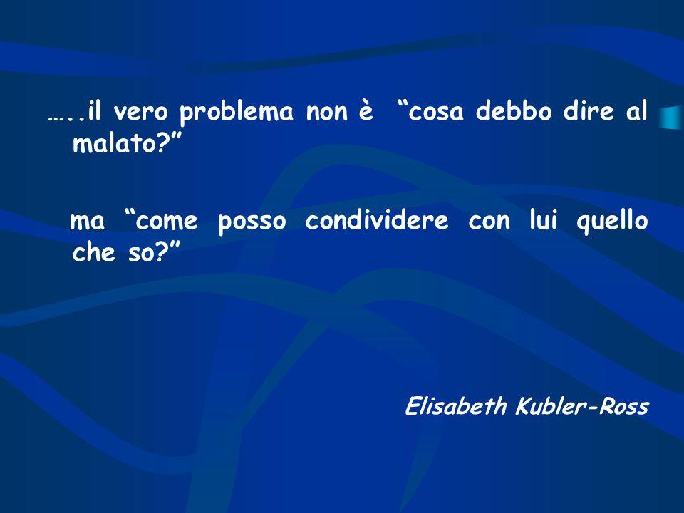 …..il vero problema non è cosa debbo dire al malato? ma come posso condividere con lui quello che so? Elisabeth Kubler-Ross