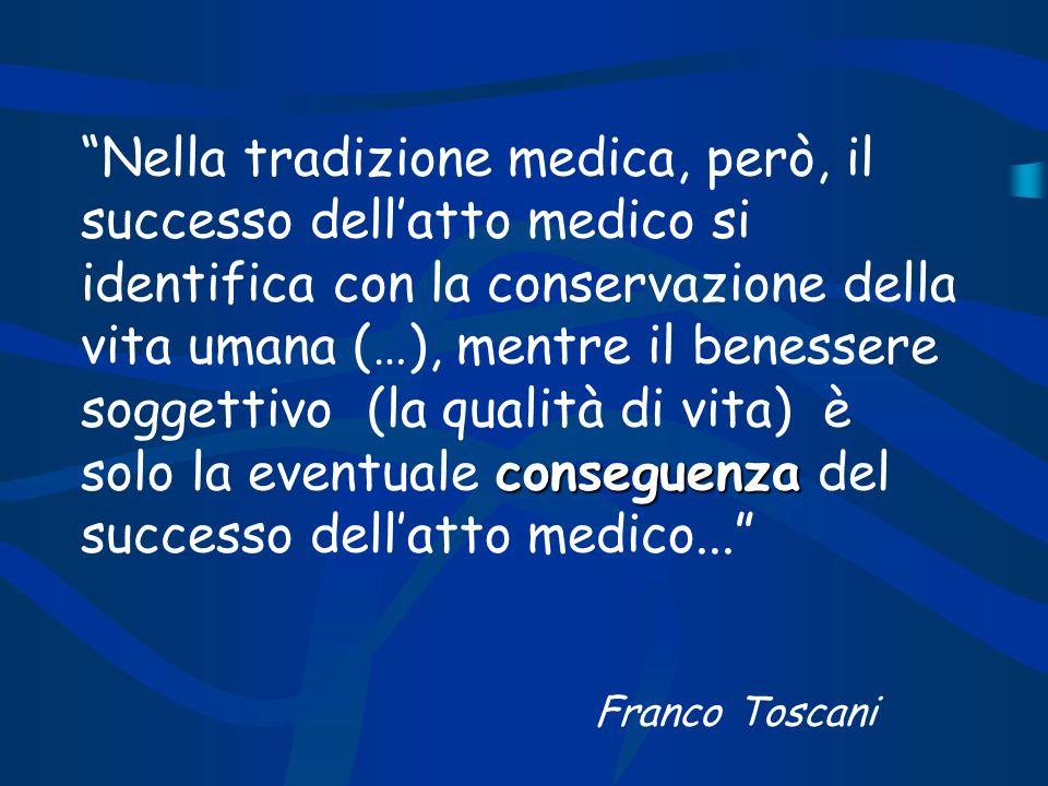 conseguenza Nella tradizione medica, però, il successo dellatto medico si identifica con la conservazione della vita umana (…), mentre il benessere so