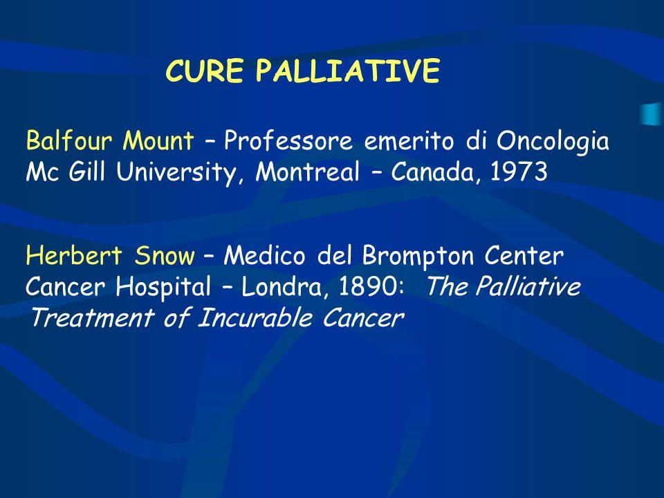 CURE PALLIATIVE Balfour Mount – Professore emerito di Oncologia Mc Gill University, Montreal – Canada, 1973 Herbert Snow – Medico del Brompton Center