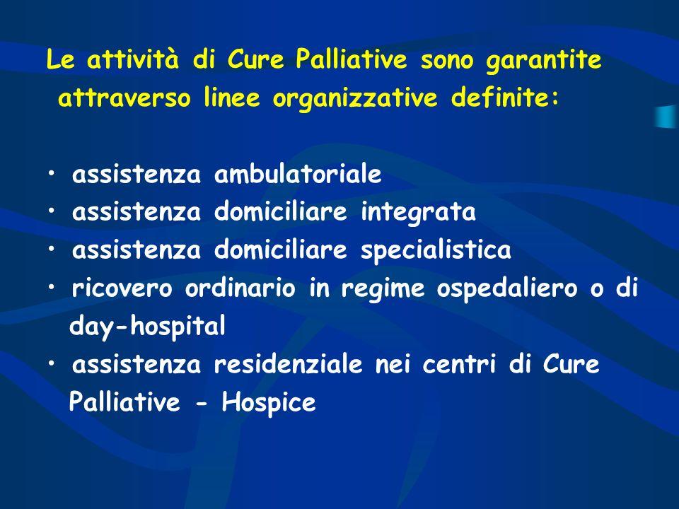 Le attività di Cure Palliative sono garantite attraverso linee organizzative definite: assistenza ambulatoriale assistenza domiciliare integrata assis