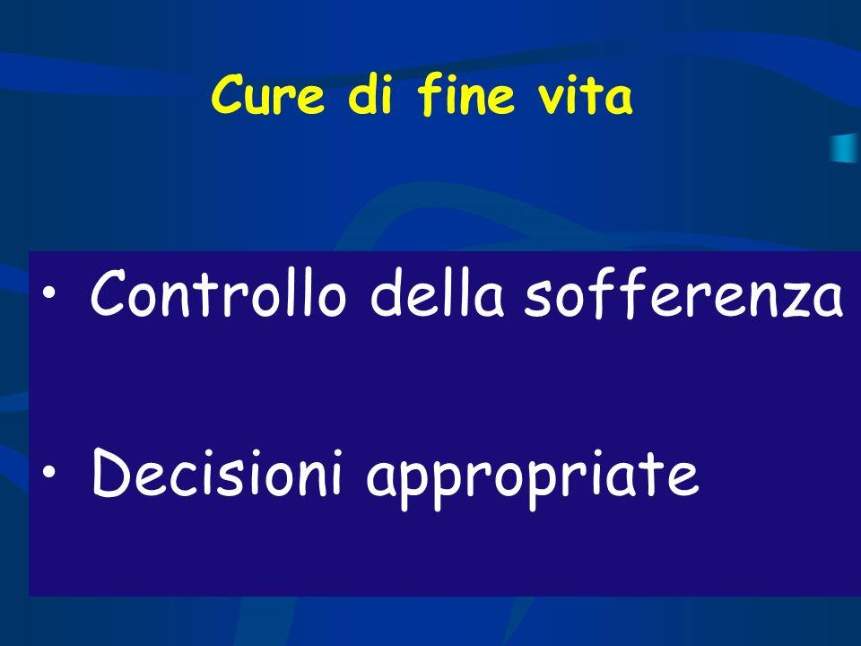 Cure di fine vita Controllo della sofferenza Decisioni appropriate