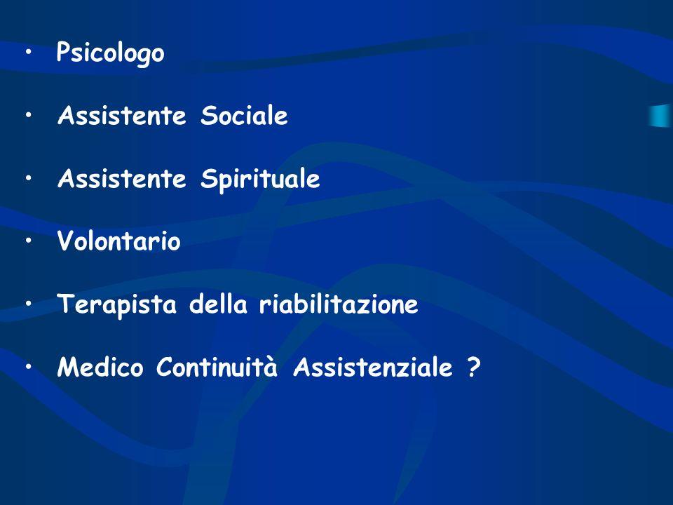 Psicologo Assistente Sociale Assistente Spirituale Volontario Terapista della riabilitazione Medico Continuità Assistenziale ?