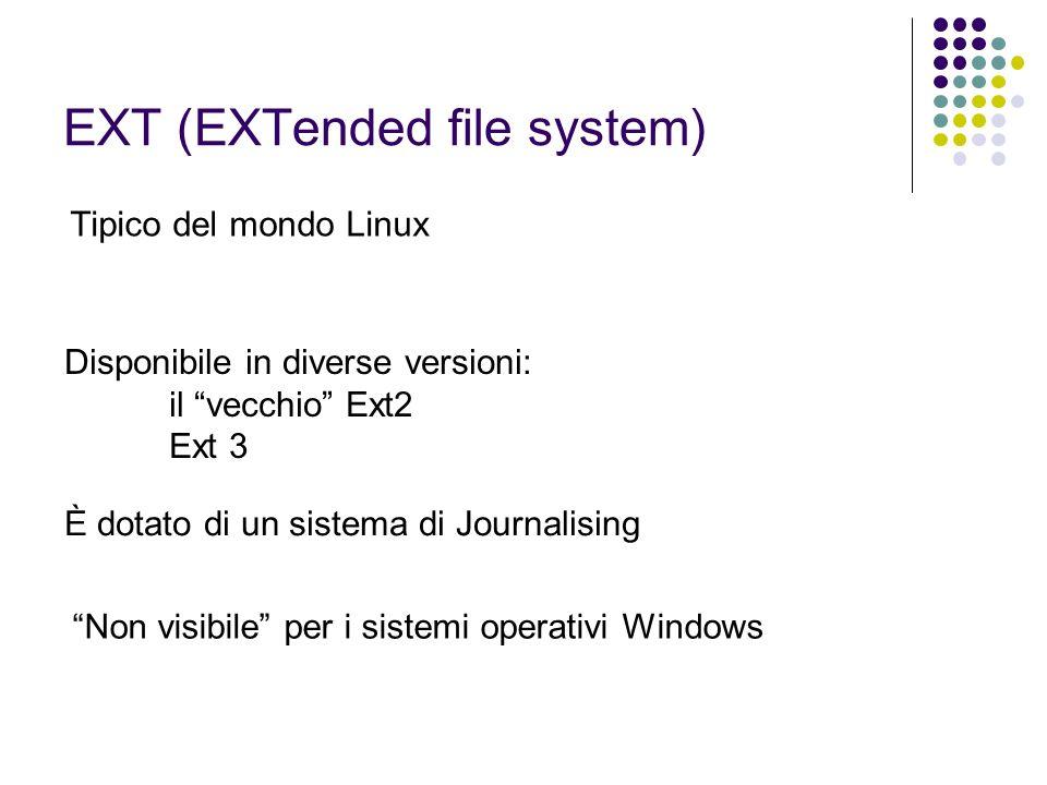 EXT (EXTended file system) Tipico del mondo Linux Disponibile in diverse versioni: il vecchio Ext2 Ext 3 È dotato di un sistema di Journalising Non vi