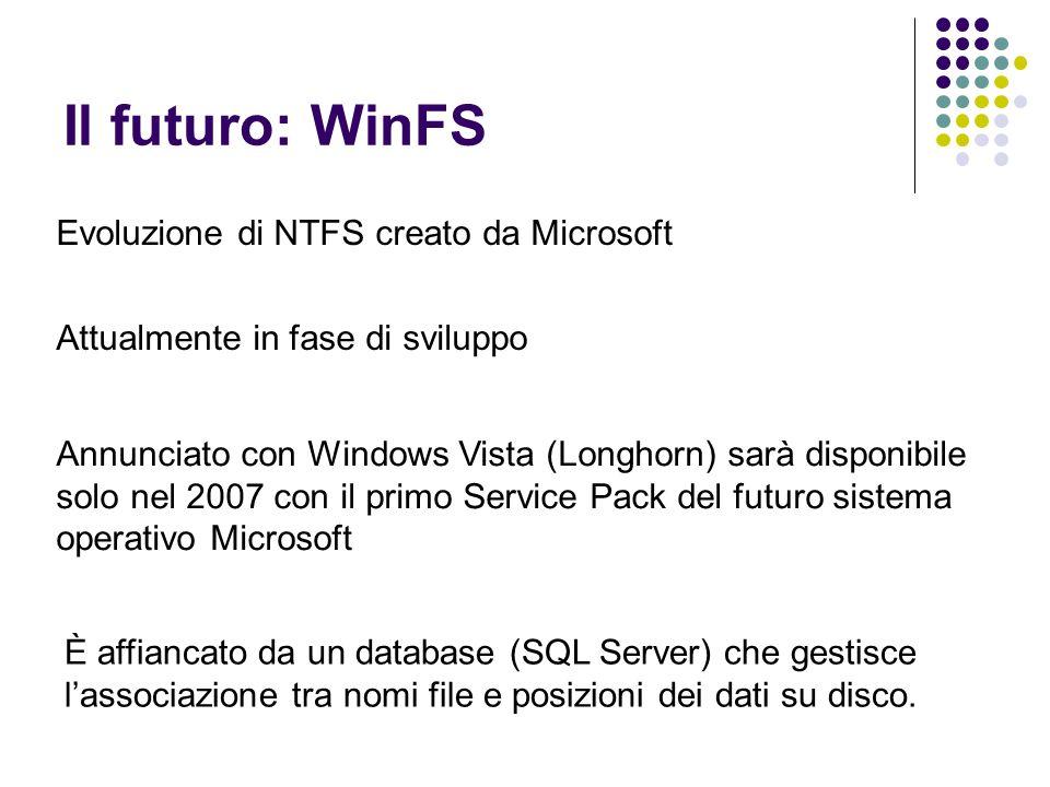 Il futuro: WinFS Attualmente in fase di sviluppo Evoluzione di NTFS creato da Microsoft Annunciato con Windows Vista (Longhorn) sarà disponibile solo