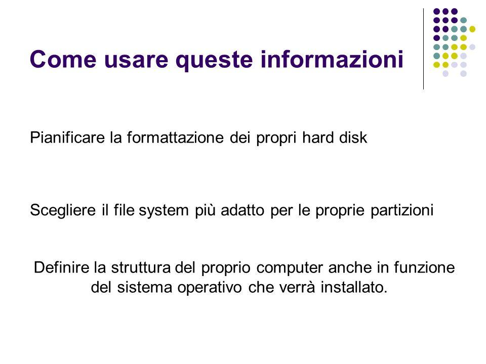 Come usare queste informazioni Pianificare la formattazione dei propri hard disk Scegliere il file system più adatto per le proprie partizioni Definir