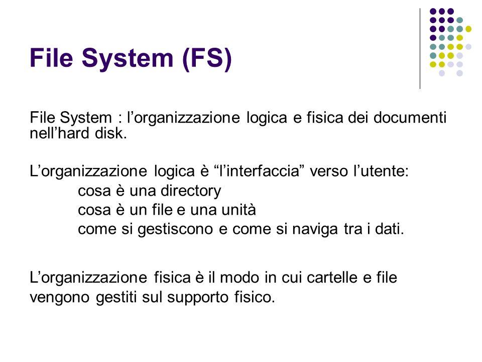 File System (FS) File System : lorganizzazione logica e fisica dei documenti nellhard disk. Lorganizzazione logica è linterfaccia verso lutente: cosa
