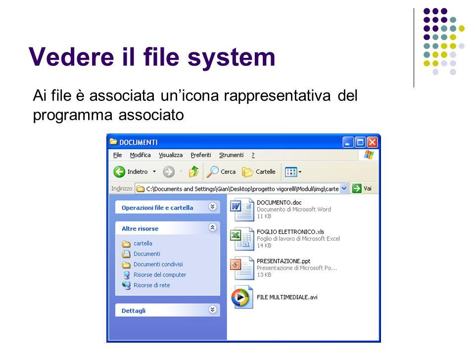 File System – la teoria Il file system è associato ad un supporto di memorizzazione: hard disk floppy CD / DVD chiavi USB Può rappresentare dati dinamici (connessioni di rete) Nei File System moderni esiste: - una associazione tra nomi file e localizzazione dei dati - una struttura gerarchica - controllo degli accessi (ACL – Access Control List)