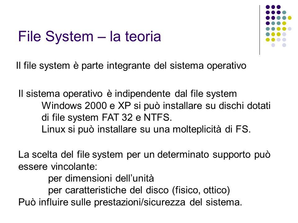 FAT (File Allocation Table) Usato su sistemi operativi DOS e Windows È disponibile in tre diverse versioni: FAT 12 – utilizzata sulle prime versioni di DOS FAT 16 – adottata da Windows 95a FAT 32 – adottata a partire da Windows 95b Caratteristiche: Non dispone di una ACL (insicurezza) Vi si può installare qualsiasi versione di Windows e Linux.