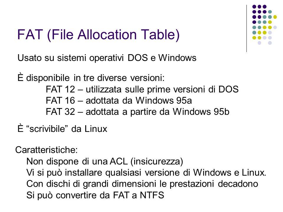 NTFS (New Technology FS) Evoluzione di FAT sviluppata negli anni 90 da Microsoft È dedicata a sistemi operativi multiutente basati su kernel NT: Windows NT Windows 2000 Windows XP Caratteristiche: Dispone di una ACL Transazionale (sicurezza da blackout) Nomi lunghi unicode (255 char) Dimensioni infinite (4 TB di disco, 4,3 miliardi di file, 4 GB ogni singolo file)