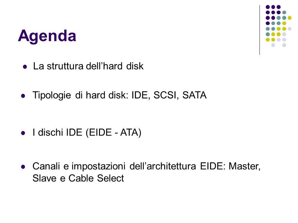 Agenda La struttura dellhard disk Tipologie di hard disk: IDE, SCSI, SATA I dischi IDE (EIDE - ATA) Canali e impostazioni dellarchitettura EIDE: Maste