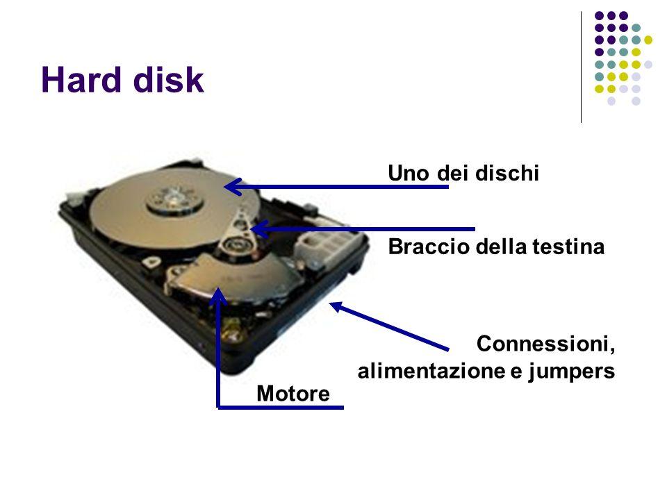 Hard disk Uno dei dischi Braccio della testina Motore Connessioni, alimentazione e jumpers