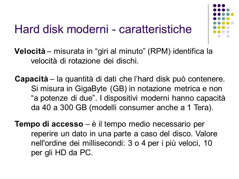 Hard disk moderni - caratteristiche Velocità – misurata in giri al minuto (RPM) identifica la velocità di rotazione dei dischi. Capacità – la quantità
