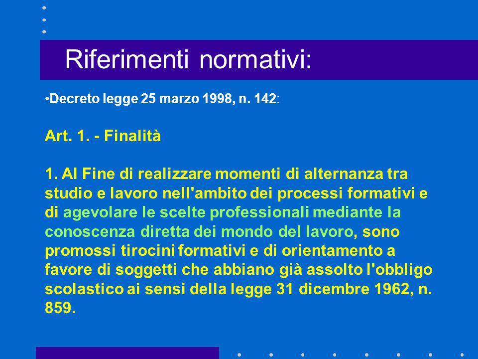 Decreto legge 25 marzo 1998, n. 142: Art. 1. - Finalità 1. Al Fine di realizzare momenti di alternanza tra studio e lavoro nell'ambito dei processi fo