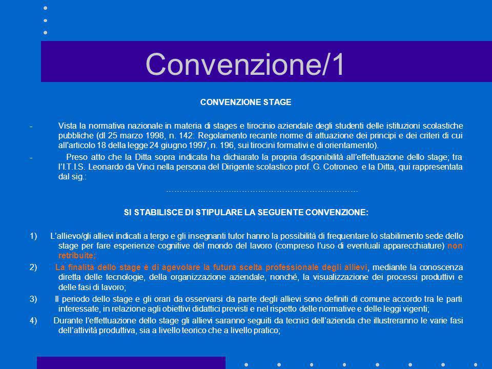 Convenzione/1 CONVENZIONE STAGE - Vista la normativa nazionale in materia di stages e tirocinio aziendale degli studenti delle istituzioni scolastiche