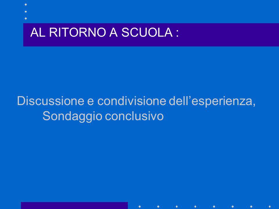 Discussione e condivisione dellesperienza, Sondaggio conclusivo AL RITORNO A SCUOLA :