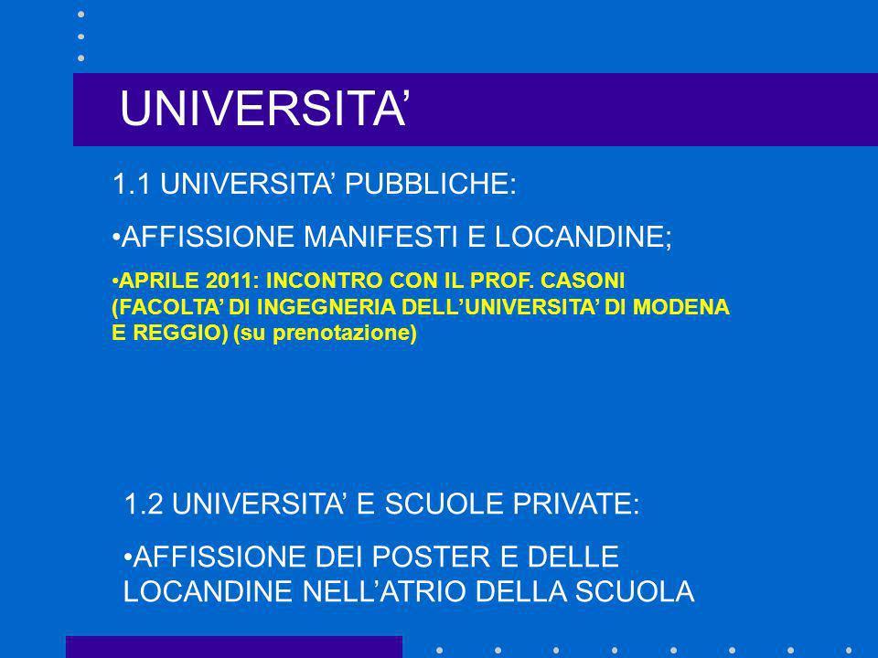 1.1 UNIVERSITA PUBBLICHE: AFFISSIONE MANIFESTI E LOCANDINE; APRILE 2011: INCONTRO CON IL PROF. CASONI (FACOLTA DI INGEGNERIA DELLUNIVERSITA DI MODENA