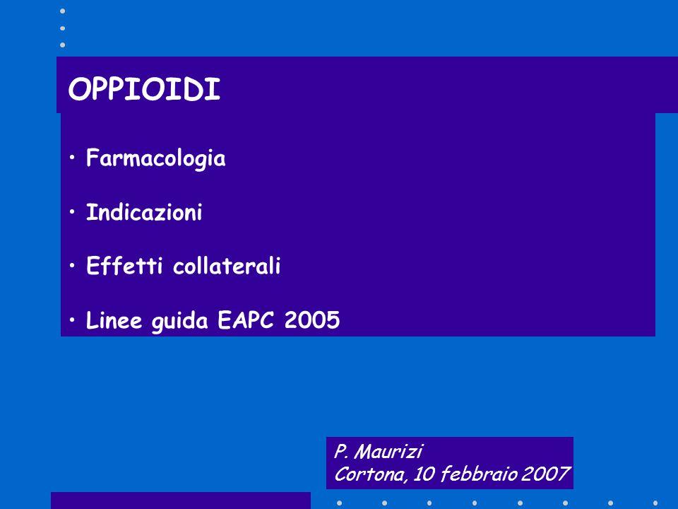 Dosi raccomandate Equianalgesia 400 mg di diidrocodeina 400 mg di codeina Un cerotto da 35 µcg/h di buprenorfina 5,3 mg di idromorfone Un cerotto da 25 µcg/h di fentanyl 40 mg di morfina 20 mg di ossicodone Twycross et al 1998 Jacox et al 1994