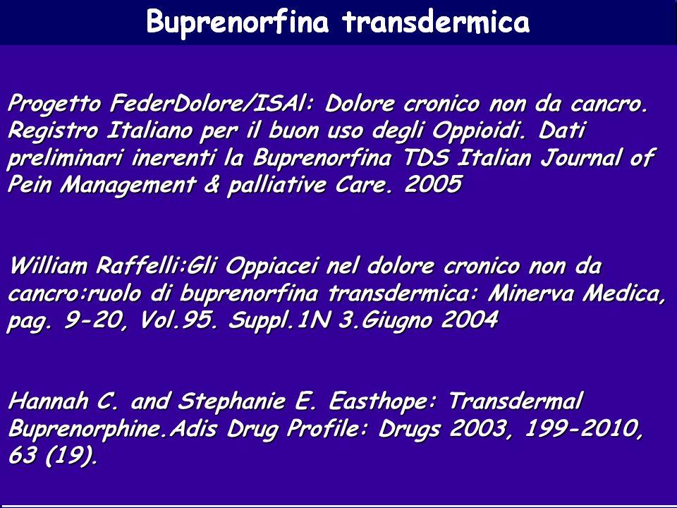 Buprenorfina transdermica Progetto FederDolore/ISAl: Dolore cronico non da cancro. Registro Italiano per il buon uso degli Oppioidi. Dati preliminari