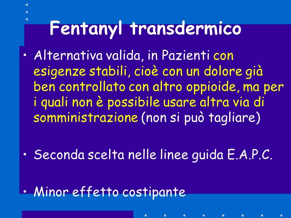 Fentanyl transdermico Alternativa valida, in Pazienti con esigenze stabili, cioè con un dolore già ben controllato con altro oppioide, ma per i quali