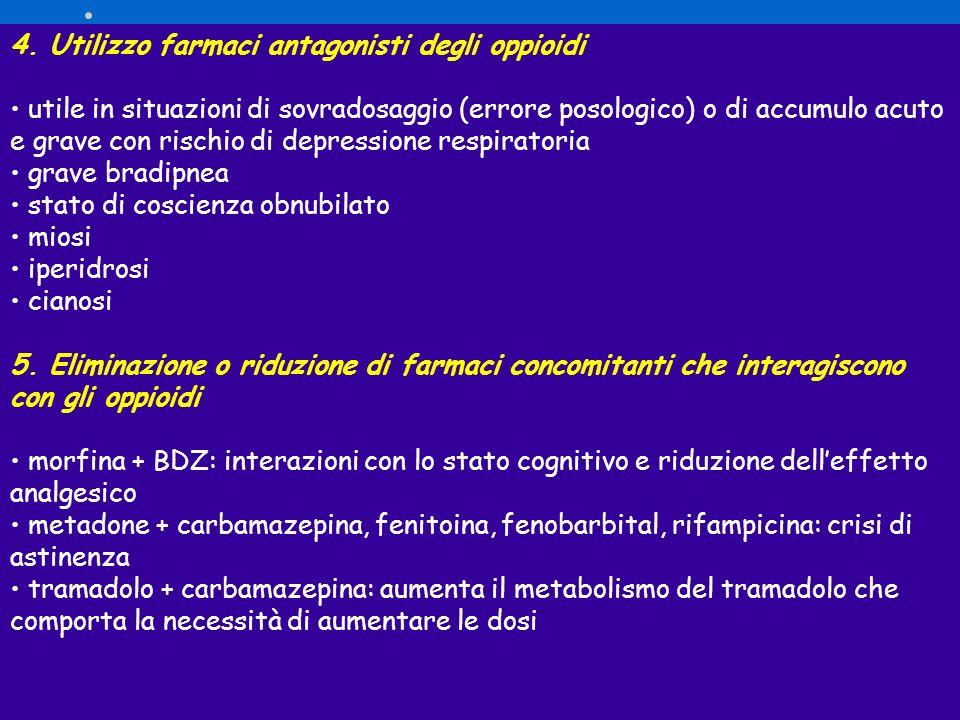 4. Utilizzo farmaci antagonisti degli oppioidi utile in situazioni di sovradosaggio (errore posologico) o di accumulo acuto e grave con rischio di dep
