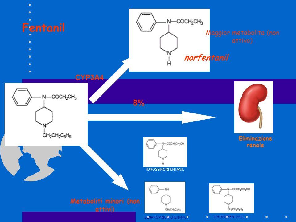 norfentanil CYP3A4 8% DESPROPRIONILFENANIL IDROSSIFENTANIL IDROSSINORFENTANIL Maggior metabolita (non attivo) Metaboliti minori (non attivi) Eliminazi