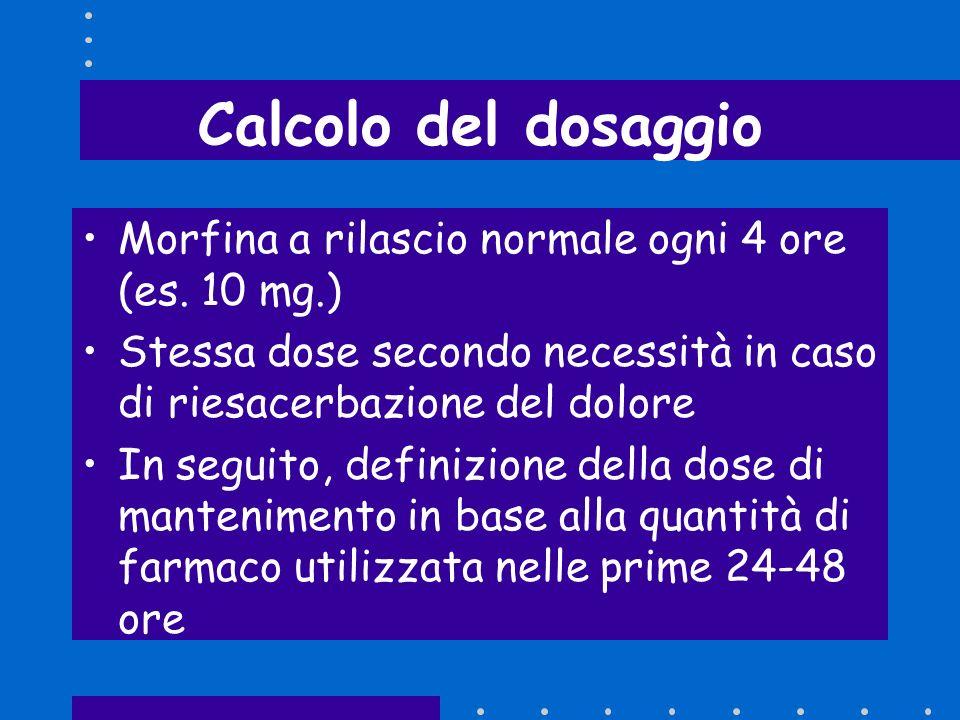 Calcolo del dosaggio Morfina a rilascio normale ogni 4 ore (es. 10 mg.) Stessa dose secondo necessità in caso di riesacerbazione del dolore In seguito