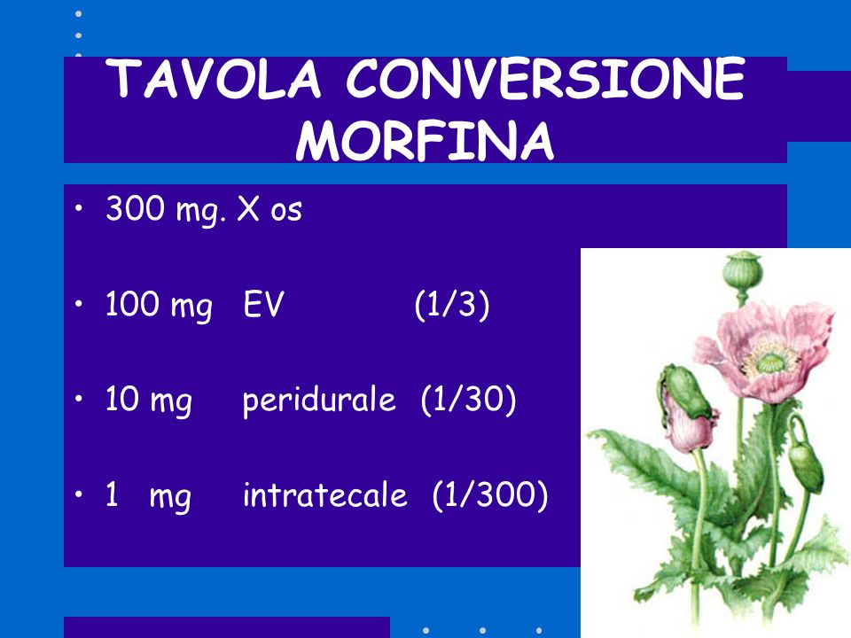 TAVOLA CONVERSIONE MORFINA 300 mg. X os 100 mg EV (1/3) 10 mg peridurale (1/30) 1 mg intratecale (1/300)