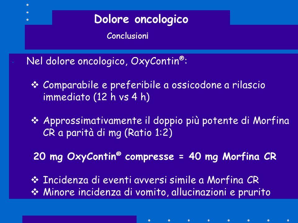 Dolore oncologico Conclusion i - Nel dolore oncologico, OxyContin ® : Comparabile e preferibile a ossicodone a rilascio immediato (12 h vs 4 h) Appros
