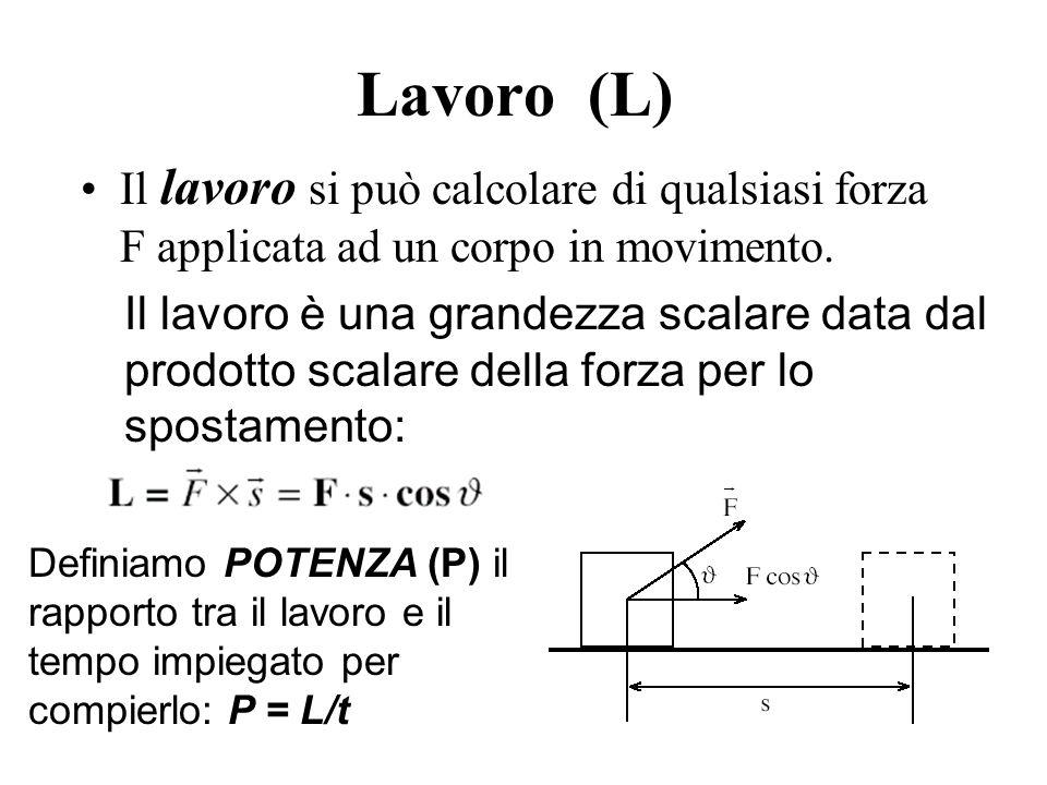 Lavoro (L) Il lavoro si può calcolare di qualsiasi forza F applicata ad un corpo in movimento. Il lavoro è una grandezza scalare data dal prodotto sca
