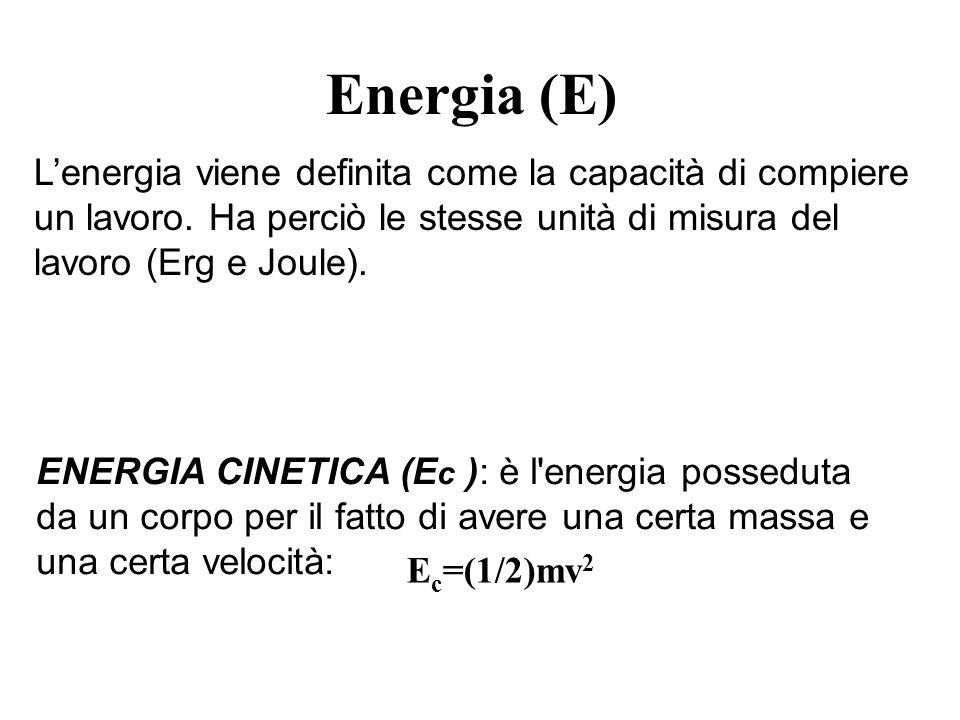 Energia (E) Lenergia viene definita come la capacità di compiere un lavoro. Ha perciò le stesse unità di misura del lavoro (Erg e Joule). ENERGIA CINE