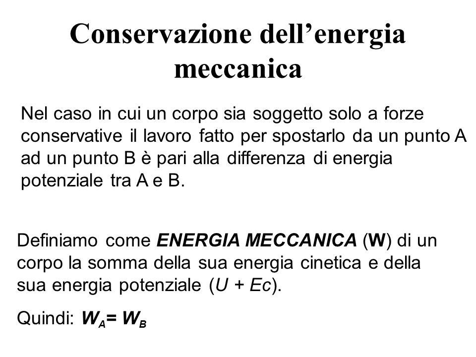 Conservazione dellenergia meccanica Nel caso in cui un corpo sia soggetto solo a forze conservative il lavoro fatto per spostarlo da un punto A ad un