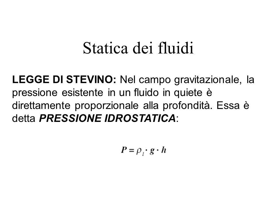 Statica dei fluidi LEGGE DI STEVINO: Nel campo gravitazionale, la pressione esistente in un fluido in quiete è direttamente proporzionale alla profond
