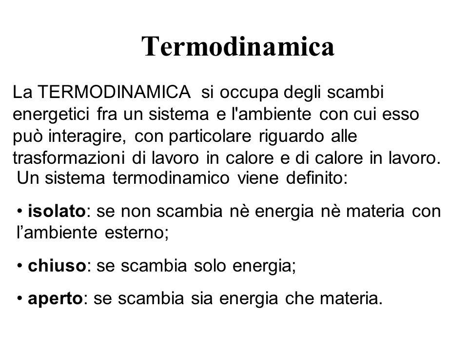 Termodinamica La TERMODINAMICA si occupa degli scambi energetici fra un sistema e l'ambiente con cui esso può interagire, con particolare riguardo all