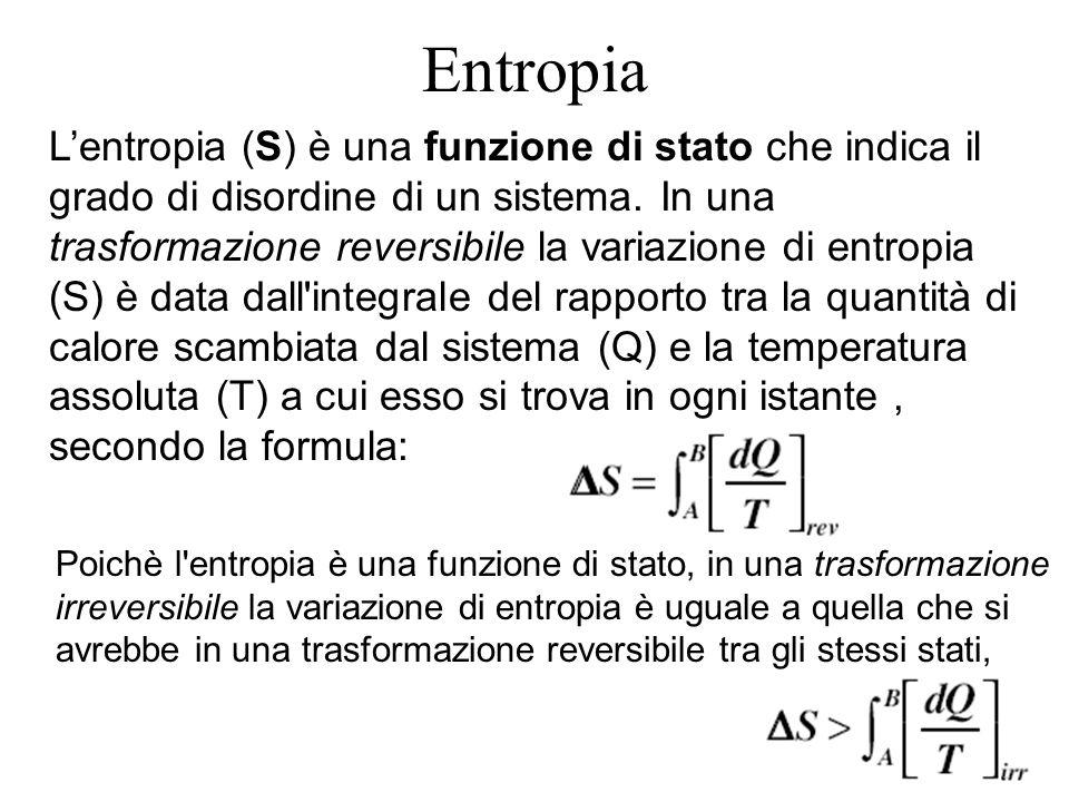 Entropia Lentropia (S) è una funzione di stato che indica il grado di disordine di un sistema. In una trasformazione reversibile la variazione di entr
