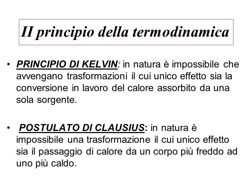II principio della termodinamica PRINCIPIO DI KELVIN: in natura è impossibile che avvengano trasformazioni il cui unico effetto sia la conversione in