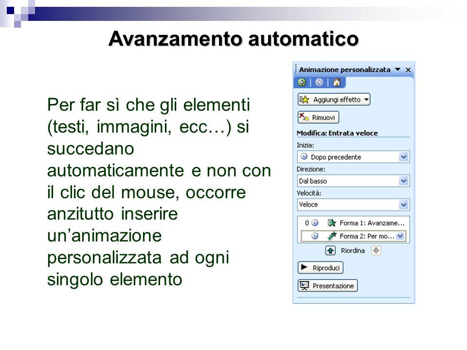 Animazioni personalizzate Per applicare unanimazione sarà sufficiente cliccare con il pulsante destro del mouse sullelemento da animare e scegliere an
