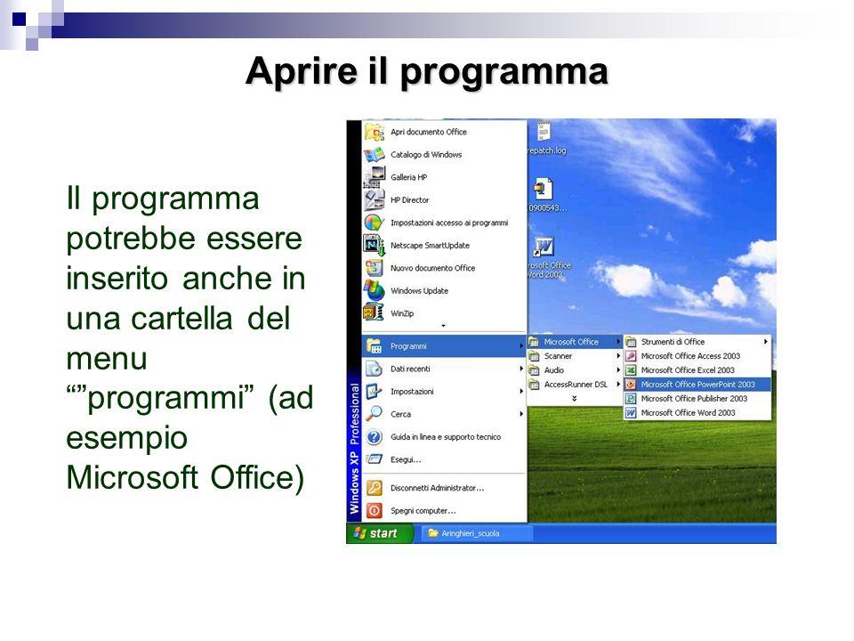 Aprire il programma Il programma Power Point serve per creare presentazioni. Si apre dal menu start programmi o con licona sul desktop