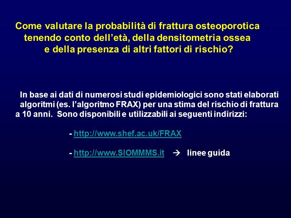 Come valutare la probabilità di frattura osteoporotica tenendo conto delletà, della densitometria ossea e della presenza di altri fattori di rischio.