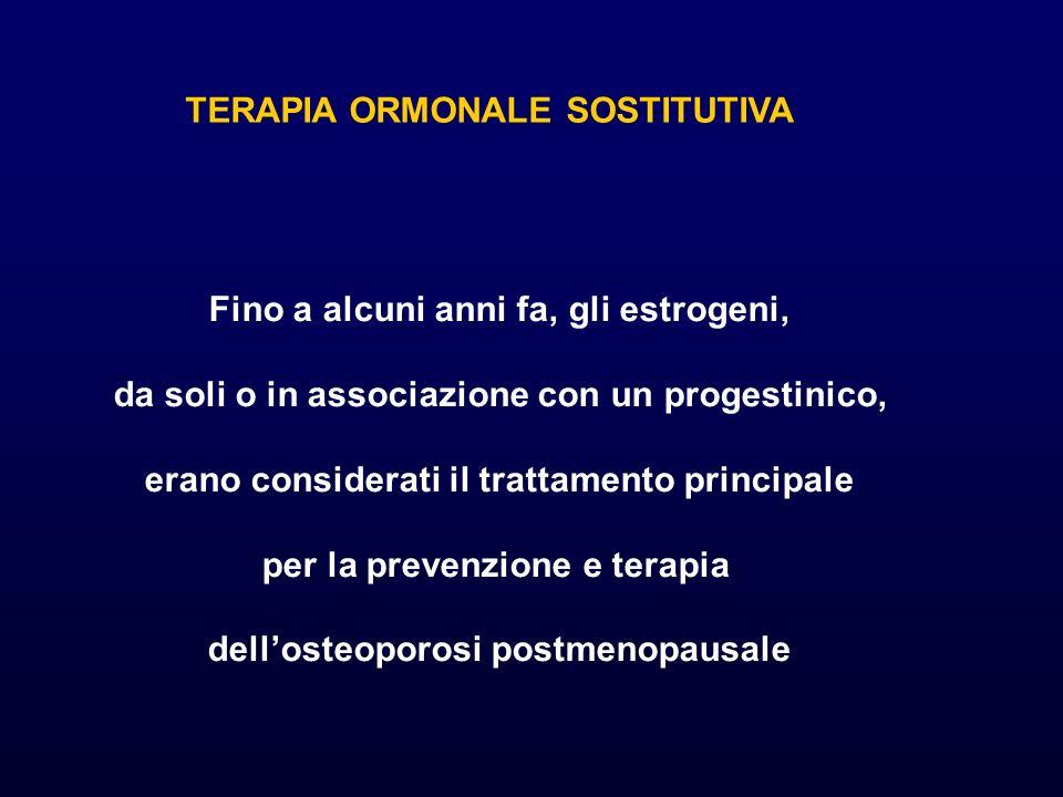 TERAPIA ORMONALE SOSTITUTIVA Fino a alcuni anni fa, gli estrogeni, da soli o in associazione con un progestinico, erano considerati il trattamento principale per la prevenzione e terapia dellosteoporosi postmenopausale