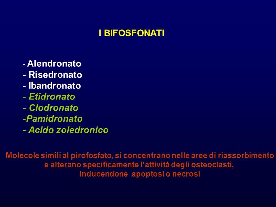 I BIFOSFONATI - Alendronato - Risedronato - Ibandronato - Etidronato - Clodronato -Pamidronato - Acido zoledronico Molecole simili al pirofosfato, si concentrano nelle aree di riassorbimento e alterano specificamente lattività degli osteoclasti, inducendone apoptosi o necrosi