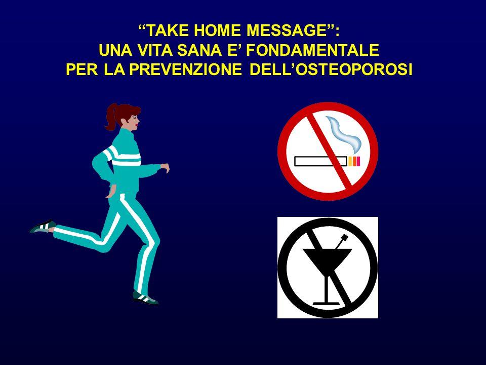 TAKE HOME MESSAGE: UNA VITA SANA E FONDAMENTALE PER LA PREVENZIONE DELLOSTEOPOROSI