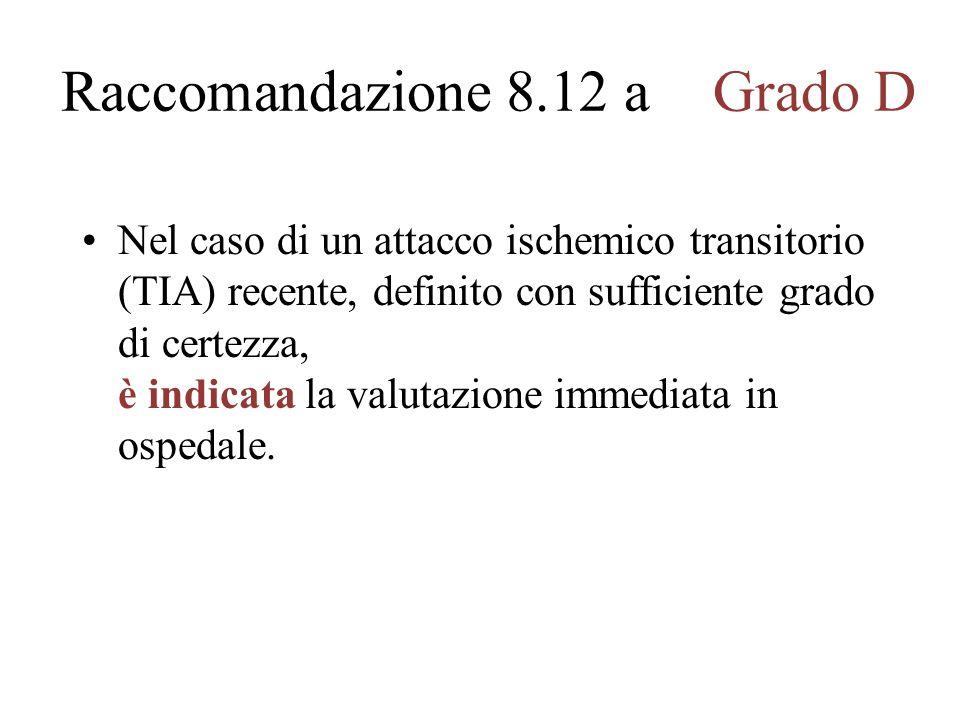 Raccomandazione 8.12 aGrado D Nel caso di un attacco ischemico transitorio (TIA) recente, definito con sufficiente grado di certezza, è indicata la valutazione immediata in ospedale.