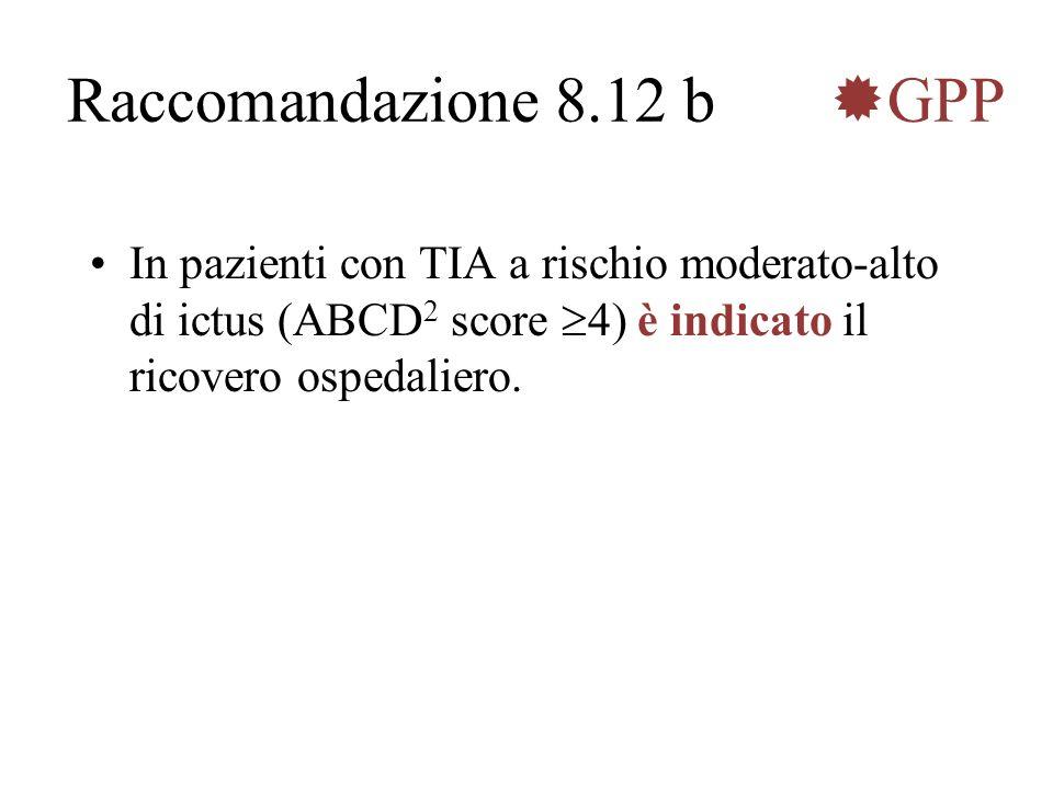 Raccomandazione 8.12 b GPP In pazienti con TIA a rischio moderato-alto di ictus (ABCD 2 score 4) è indicato il ricovero ospedaliero.