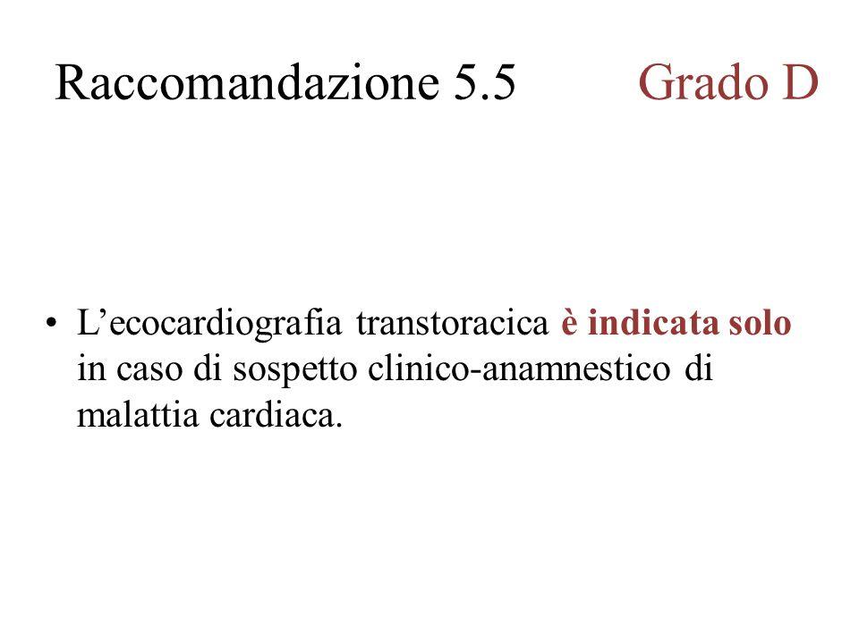 Lecocardiografia transtoracica è indicata solo in caso di sospetto clinico-anamnestico di malattia cardiaca.