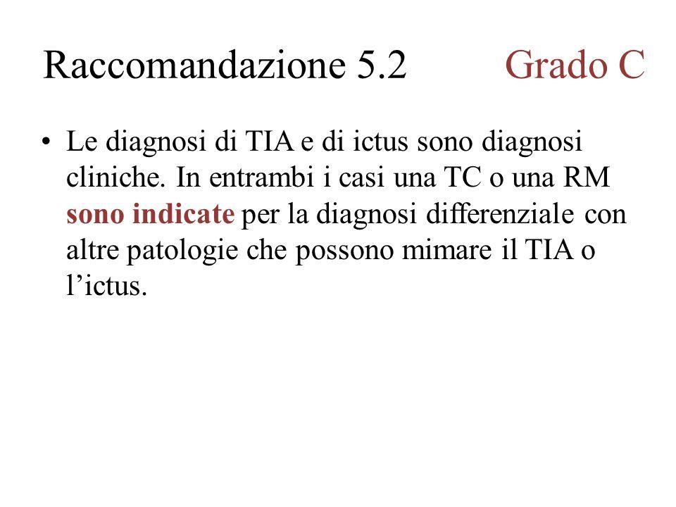 Le diagnosi di TIA e di ictus sono diagnosi cliniche.