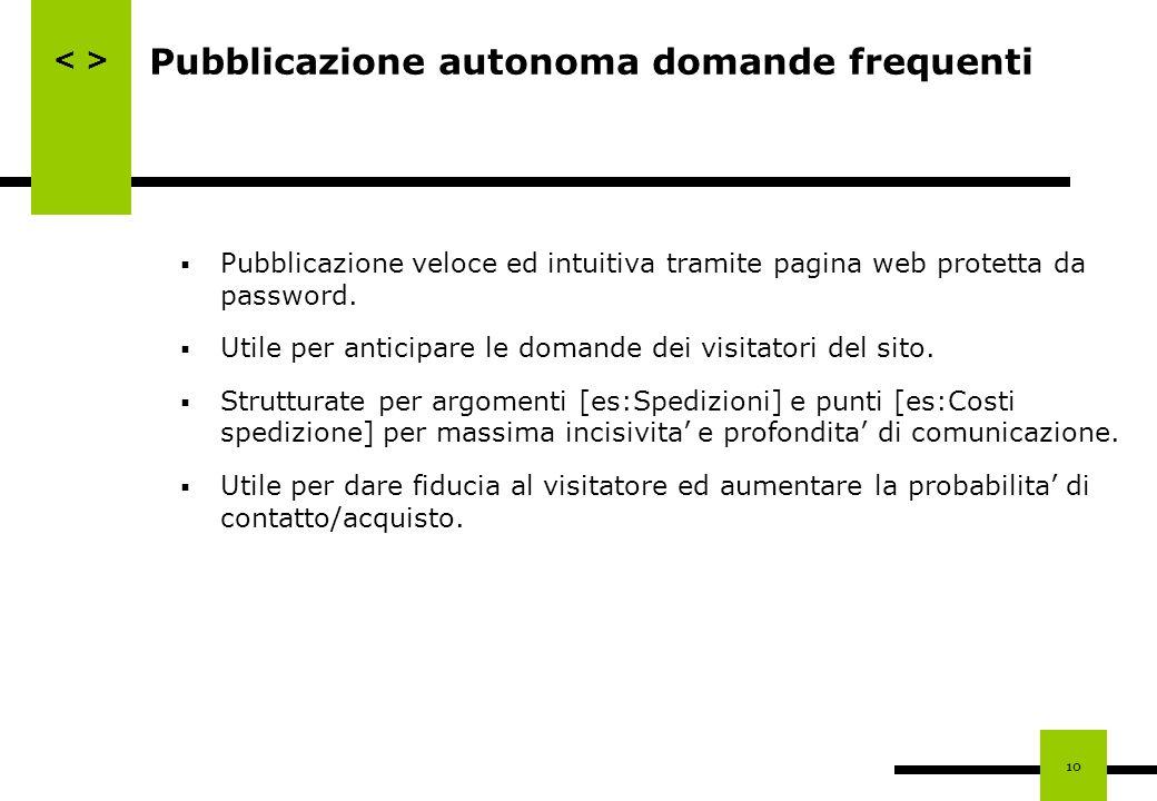 10 Pubblicazione autonoma domande frequenti Pubblicazione veloce ed intuitiva tramite pagina web protetta da password. Utile per anticipare le domande