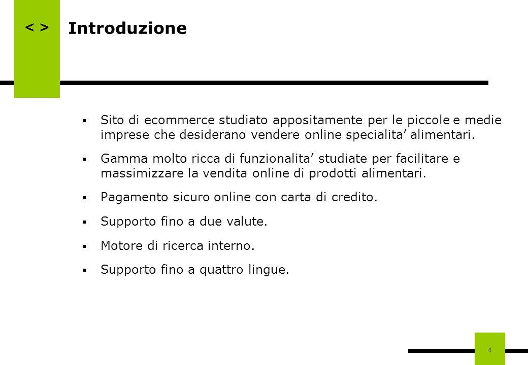 4 Introduzione Sito di ecommerce studiato appositamente per le piccole e medie imprese che desiderano vendere online specialita alimentari. Gamma molt